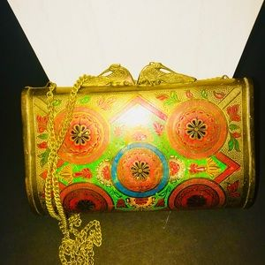 Handbags - Vintage Brass bag with Chain Strap.
